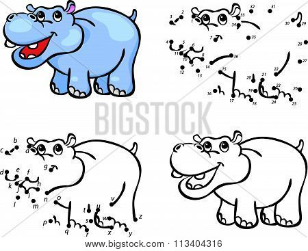 Cartoon Hippo. Vector Illustration. Coloring And Dot To Dot Game For Kids