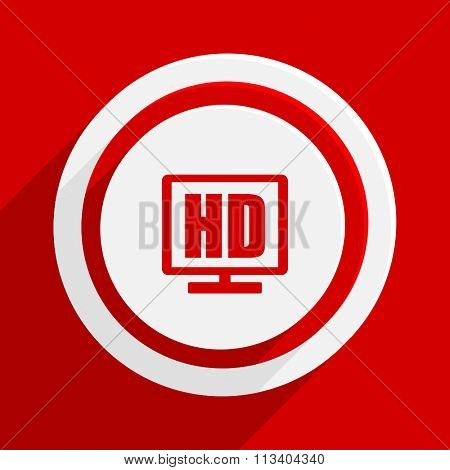hd display red flat design modern vector icon for web and mobile app