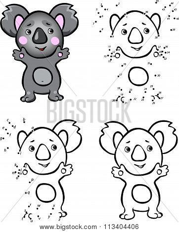 Cartoon Koala. Vector Illustration. Coloring And Dot To Dot Game For Kids