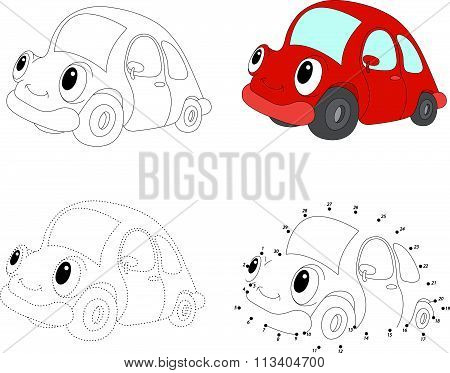 Cartoon Red Car. Vector Illustration. Dot To Dot Game For Kids