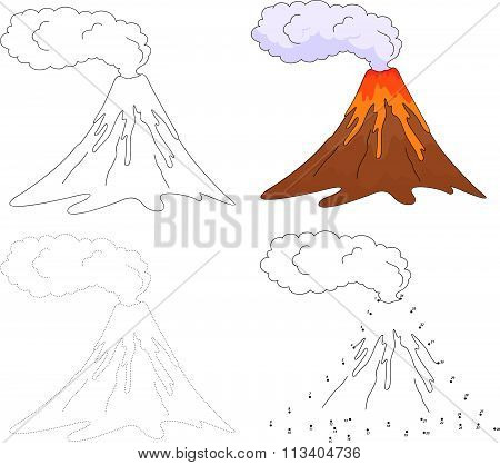 Cartoon Erupting Volcano. Vector Illustration. Dot To Dot Game For Kids