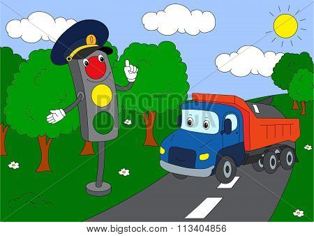 Cartoon Lorry And Traffic Lights