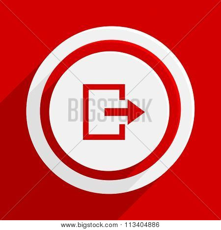 exit red flat design modern vector icon for web and mobile app