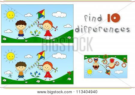 A Boy With A Girl Playing With A Kite On A Meadow. Educational Game For Kids: Find Ten Differences