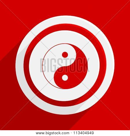 ying yang red flat design modern vector icon for web and mobile app