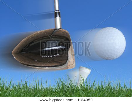 Golf Club Hitting Ball