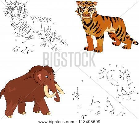 Cartoon Mammoth And Saber-toothed Tiger. Vector Illustration. Dot To Dot Game For Kids