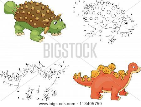Cartoon Ankylosaurus And Stegosaurus. Vector Illustration. Dot To Dot Game For Kids