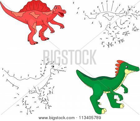Cartoon Spinosaurus And Parasaurolophus. Vector Illustration. Dot To Dot Game For Kids