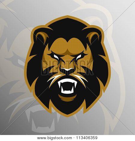 Angry Lion symbol, emblem, sport logo.