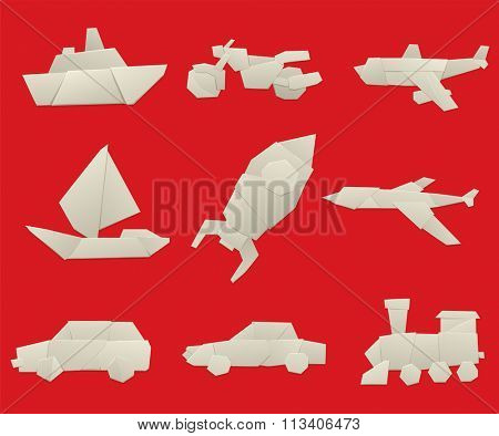 Vector illustration of simple origami paper vehicle and transport icons. Origami transport collection isolated on background. Origami transport design vector. Travel transport