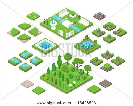 Landscaping isometric 3d garden design elements. Landscaping plants, landscaping trees vector icons isolated. Landscaping plan vector elements icons. Landscape garden design constructor. Landscaping