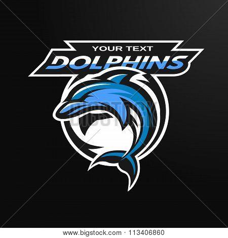 Dolphin logo, emblem for a sport team.