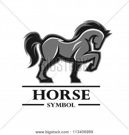 Horse symbol, logo, labels.
