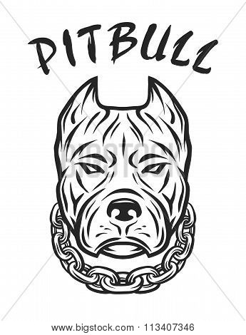 The head of a pit bull with a collar.
