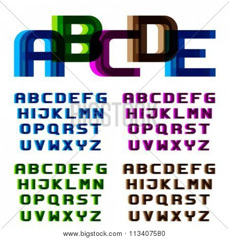 EPS10 vector distortion blur font alphabet letters