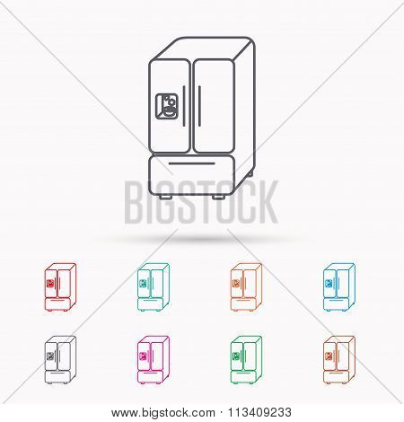 American fridge icon. Refrigerator with ice sign