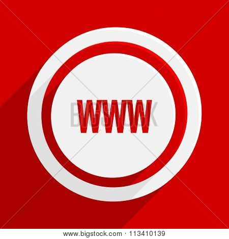 www red flat design modern vector icon for web and mobile app