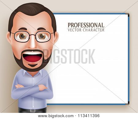 Old Professor Teacher Man Vector Character Speaking or Talking