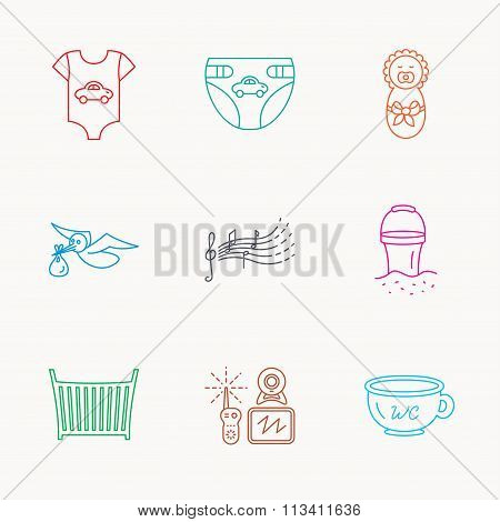 Diapers, newborn baby and clothes icons.