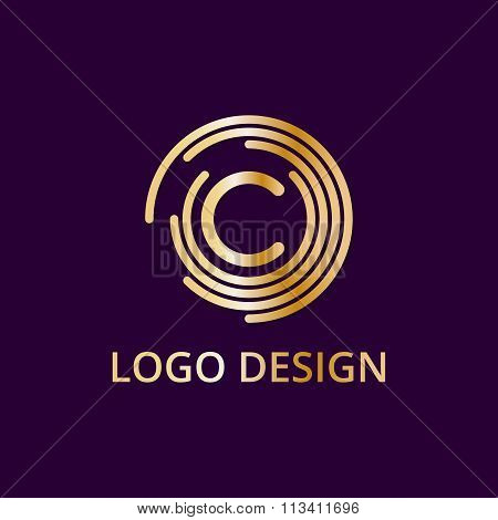 Stock logo letter c of gold. Vector illustration