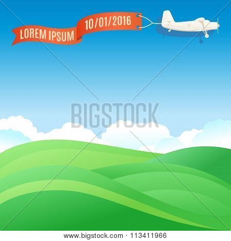 Flying Vintage Plane With Banner And Green Grassy Hills. Vector Illustration, Template For Text