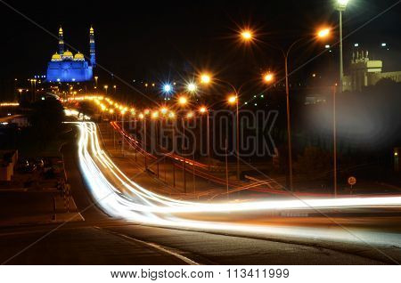 Light trail of cars in Muscat, Oman