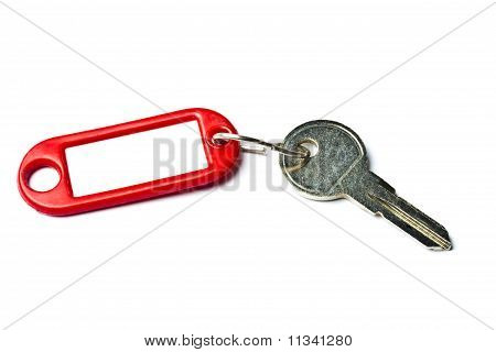Blank Tag And A Key Isolated On White