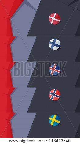 Scandinavian flags lapel pins.