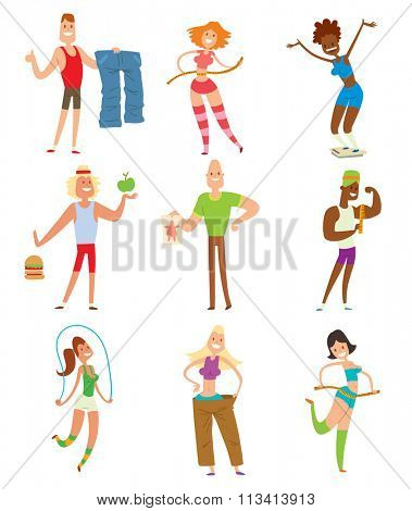 Beauty fitness people weight loss vector cartoon illustration. Weight loss, weight loop concept. Thin people diet, gym, measure. Losing weight, good figure, strong body. Weight lose vector people