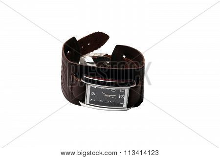 Small Wrist Watch With Leather Strap