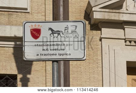 Horseracing Parking Sign In Rome