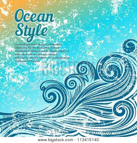 Ocean style vector card