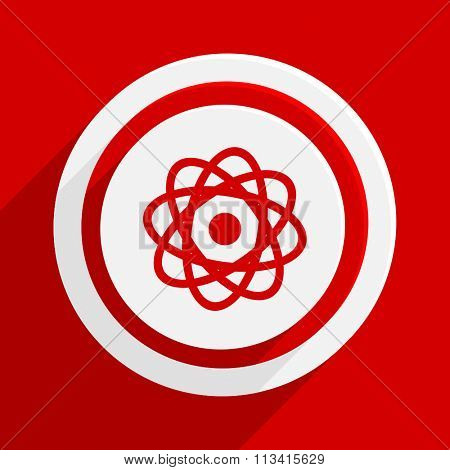 atom red flat design modern vector icon for web and mobile app
