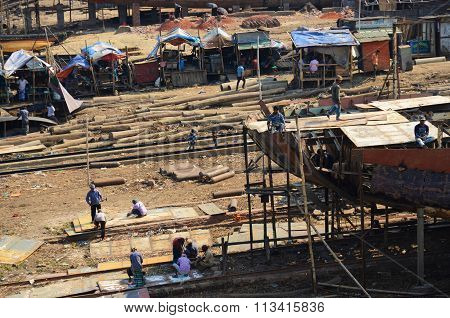Long shot of a dockyard in Dhaka, Bangladesh