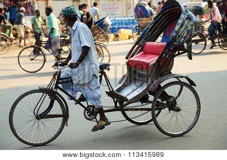 Close-up of a rickshaw driver in Dhaka