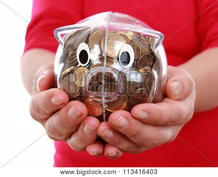 Piggy bank on hands or finance concept.