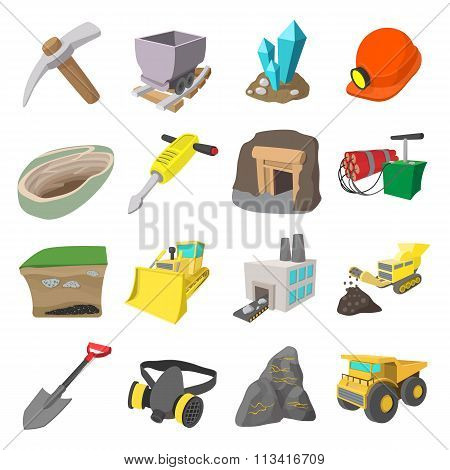 Mining icons cartoon set