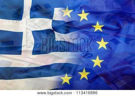 European and Greece flag. Euro money. Euro currency. Colorful waving Euro and greece flag on a euro