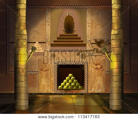 Ancient Egyptian temple interior. Image 3