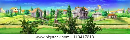 Ancient Rome panorama view. Image 03