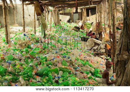 Plastic bottle recycling area in Dhaka