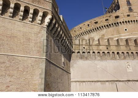 Architectural Close Up Of Castel Sant'angelo Frontal Facade