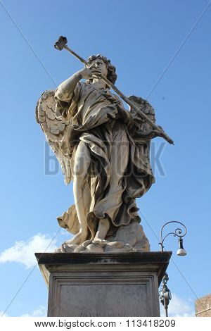 Angel Statue Close Up On Sant'angelo Bridge In Rome