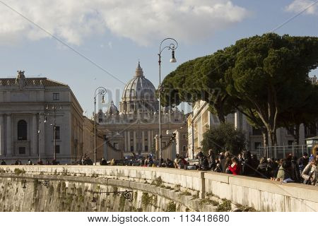 View From The Distance Of Saint Peter Basilica