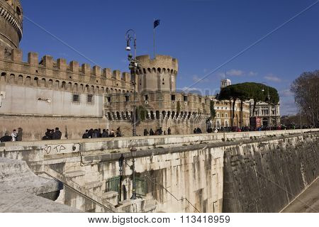 Side Of Sant'angelo Castle In Rome