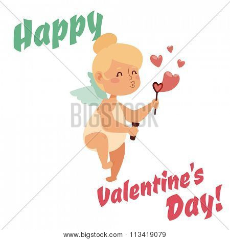 Valentine Day cupid angel cartoon style vector illustration. Amur cupid playing. Cupid cartoon vector illustration, Cute playfull cupid angel Valentine Day greeting card vector