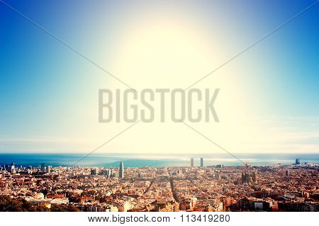 ..barcelona - A Bird View Over City. Catalonia, Spain. Night, Sunset.