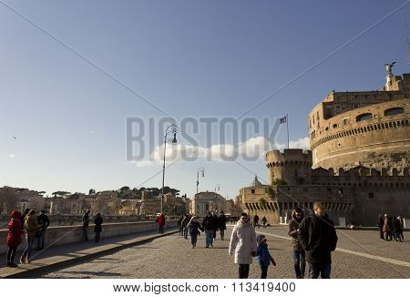 People Walking On Lungotevere Castello In Rome