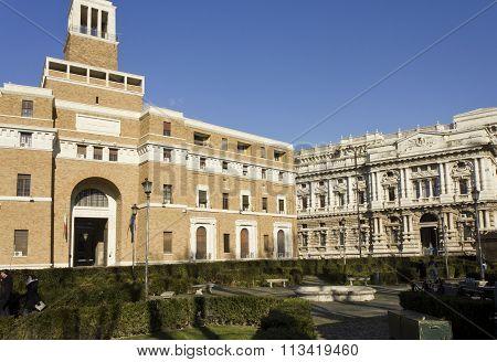 Lateral View Of Roman Corte Di Cassazione Building